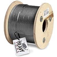 Matériau : Acier inoxydable WNr. 1.4401 (X5CrNiMo17-12-2), AISI 316, (V4A) Câble en acier inoxydable moyennement mou (1,570 N/mm2) Le câble de construction 7x7 est moins flexible et est composé de 7 torons de 7 fils chacun. Il est utilisé pour les ha...