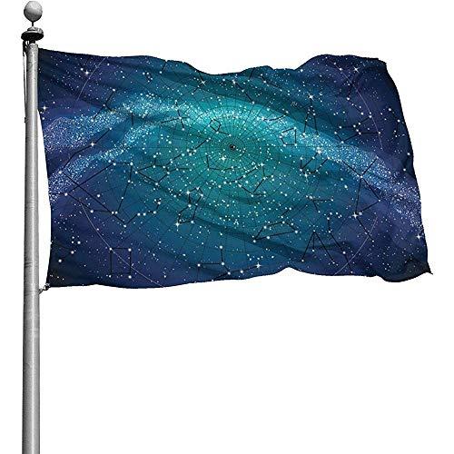 Sternbilder Nordhimmel Karte Flagge, 3X5 Ft Gartenflaggen für Outdoor Indoor Home Decor