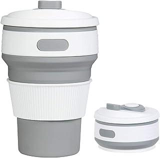 كوب قهوة محمول يصلح للسفر مصنوع من سيليكون قابل للطي خالي من بيسفينول، كوب قهوة السيليكون قابل للطي للرياضة الخارجية والتخييم