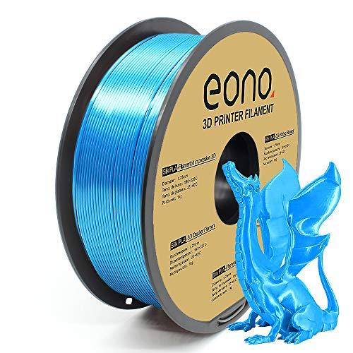 Amazon Brand-Eono Silk (Seda)PLA Filamento para Impresora 3D, 1.75mm, 1kg, Color Azul, Impresiones con Acabado Brillante y Nacarado de aspecto Sedoso, Apropiado para Piezas Decorativas.