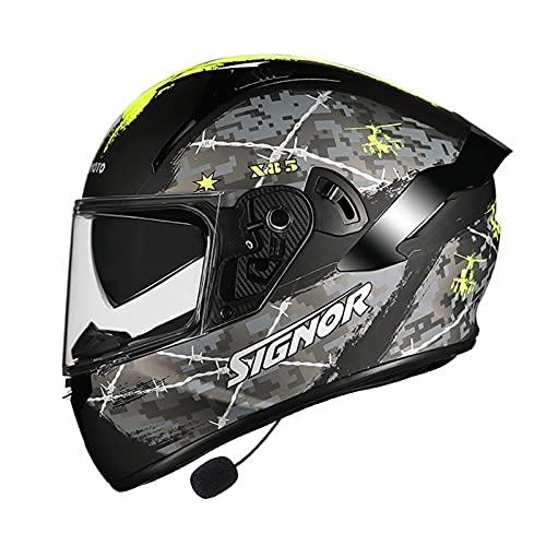 Bluetooth Casco Moto, Casco de Motocicleta con Doble Visera para Motocicleta Scooter, ECE Homologado Casco de Moto Integrado para Adultos Hombre Mujer (Color : I, Size : 2XL(63-64CM)) ✅