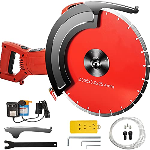 VEVOR Electric Concrete Saw, 12' Concrete Cutter, 15-Amp Concrete Saw, Electric Circular Saw with 12' Blade and Tools, Masonry Saw for Granite, Brick, Porcelain, Reinforced Concrete and Other Material