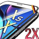 UTECTION 2X Full Screen Panzerglas 3D für iPhone X/XS - Ideale Anbringung Dank Rahmen - Premium Bildschirmschutz 9H Glas - Kompletter Schutz Vorne - Folie Schutzfolie Schutzglasfolie Ultra Clear
