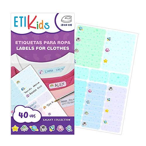 ETIKIDS TERMO FUNNY: GALAXY - 40 etichette di abbigliamento personalizzabili per l asilo e la scuola con divertenti icone dello spazio