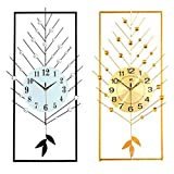 Q-HL Reloj de Pared Reloj de Pared de jardín Creativo Sala de Estar de Estilo Europeo Reloj de Hierro Forjado Dormitorio Reloj de Pared de Cuarzo silencioso (Color : Black)