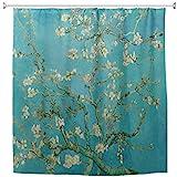 WIHVE Van Gogh Duschvorhang Stoff, Zweige von Mandelbaum in Blüte, Duschvorhang für Badezimmer Heimdekor-Set 152,4 x 182,9 cm mit 12 Haken