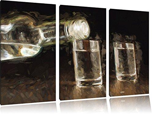 flessen wodkaFoto Canvas 3 deel | Maat: 120x80 cm | Wanddecoraties | Kunstdruk | Volledig gemonteerd