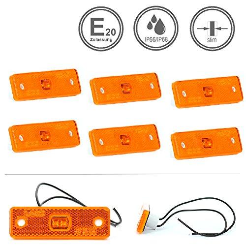 LED-MARTIN® 6er Sparset SU2 Umrissleuchte - gelb/orange - gelb/orange - zugelassen für den Straßenverkehr (E-Zeichen eingeprägt) - Begrenzungsleuchte - Positionsleuchte - LKW - Auflieger - Anhänger
