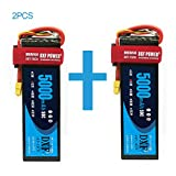 DXF 2 Packs 5000mAh 50C 11.1V 3S RC Lipo Battery with XT60 Connector