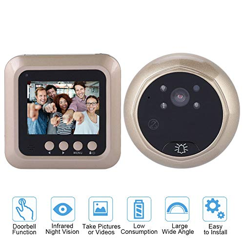 Digital Door Viewer, VBESTLIFE 2.4 Inch TFT Screen Smart Video Doorbell Intercom with 1080P HD Eye Peephole Camera Support 160 Degree Wide Angle, TF Card, IR Night Vision