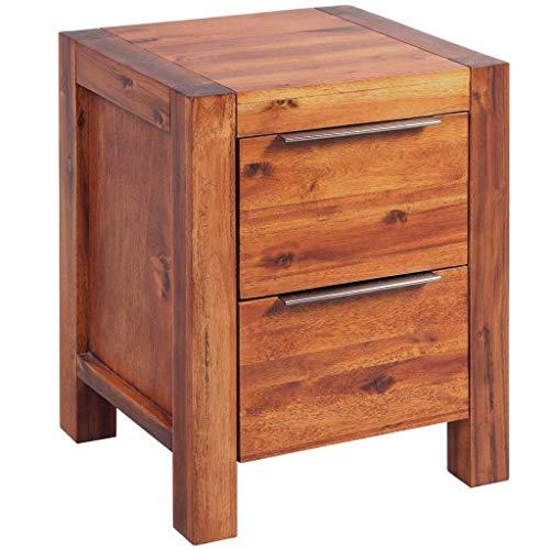 Festnight- Nachttisch mit 2 Schubladen Kleiner Schrank Nachtschrank Kommode Akazienholz Massiv Braun 45x42x58 cm