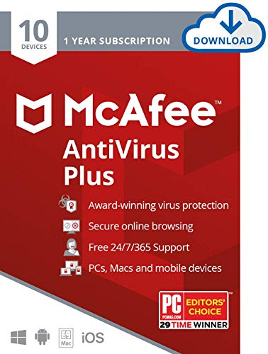 McAfee AntiVirus Plus, 10 Devices, Internet Security Software, 1 Year Subscription-[Download Code] - 2020 Ready