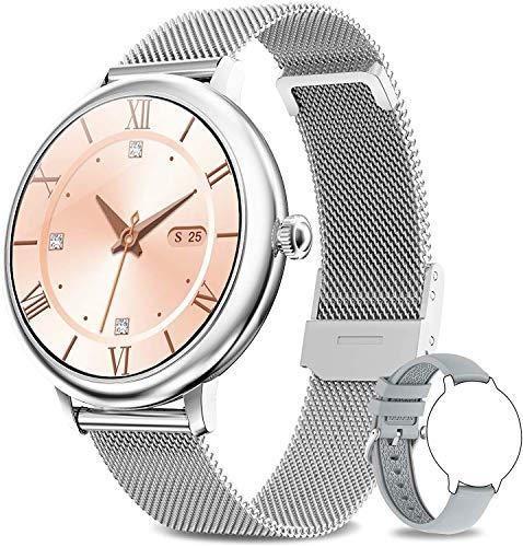 Bengux Smartwatch Mujer, Reloj Inteligente Impermeable IP68 con Smart Watch Monitor de Sueño Pulsómetros Cronómetros Contador de Caloría,Control de Musica, iOS y Android Plata ⭐