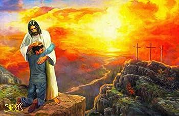 Artist Signed Jesus Christ Painting  Man Hugging Jesus  11x17 Fine Art Print Poster Religious Art Christian Religion Artwork by Mark Spears