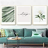 Rudxa Planta Verde Flor Lienzo Pintura Impresiones Cartel Pared Arte Imagen Sala decoración del hogar-50x70cmx3 sin Marco