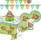 Sloth Party Supplies and Decorations - Sloth Party Plates and Napkins Cups for 16 People - Includes Sloth Birthday Banner, Tablecloth and Sloth Centerpiece - Perfect Sloth Birthday Party Decorations and Sloth Birthday Party Supplies!