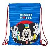 Safta Saco Plano Junior de Mickey Mouse Me Time, 260x340mm, Azul/Rojo