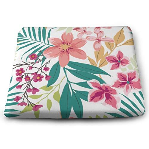 Morbido cuscino quadrato per sedia – comodo tappetino per sedia in memory foam per casa, sala da pranzo, ufficio, soggiorno, stanza/pavimenti– 45 x 34,8 cm – rosa fiore fucsia colorato arancione