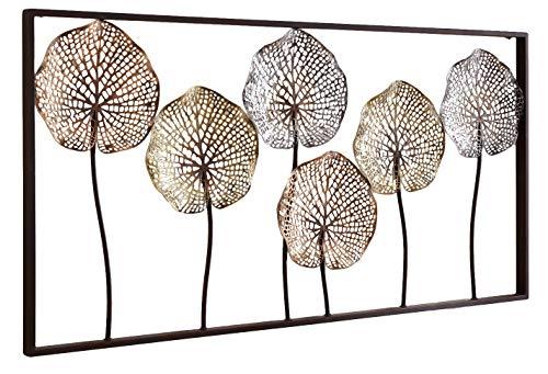 khevga - Quadro da parete in metallo, 6 fiori, 100 x 50 cm