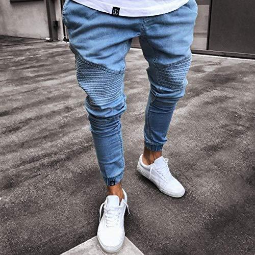 Herren Stretchy Ripped Skinny Biker Jeans Herren Elastic Pants Herren Pure Color Jogger Bleistifthose S-4Xl XXX-Large Lightblue
