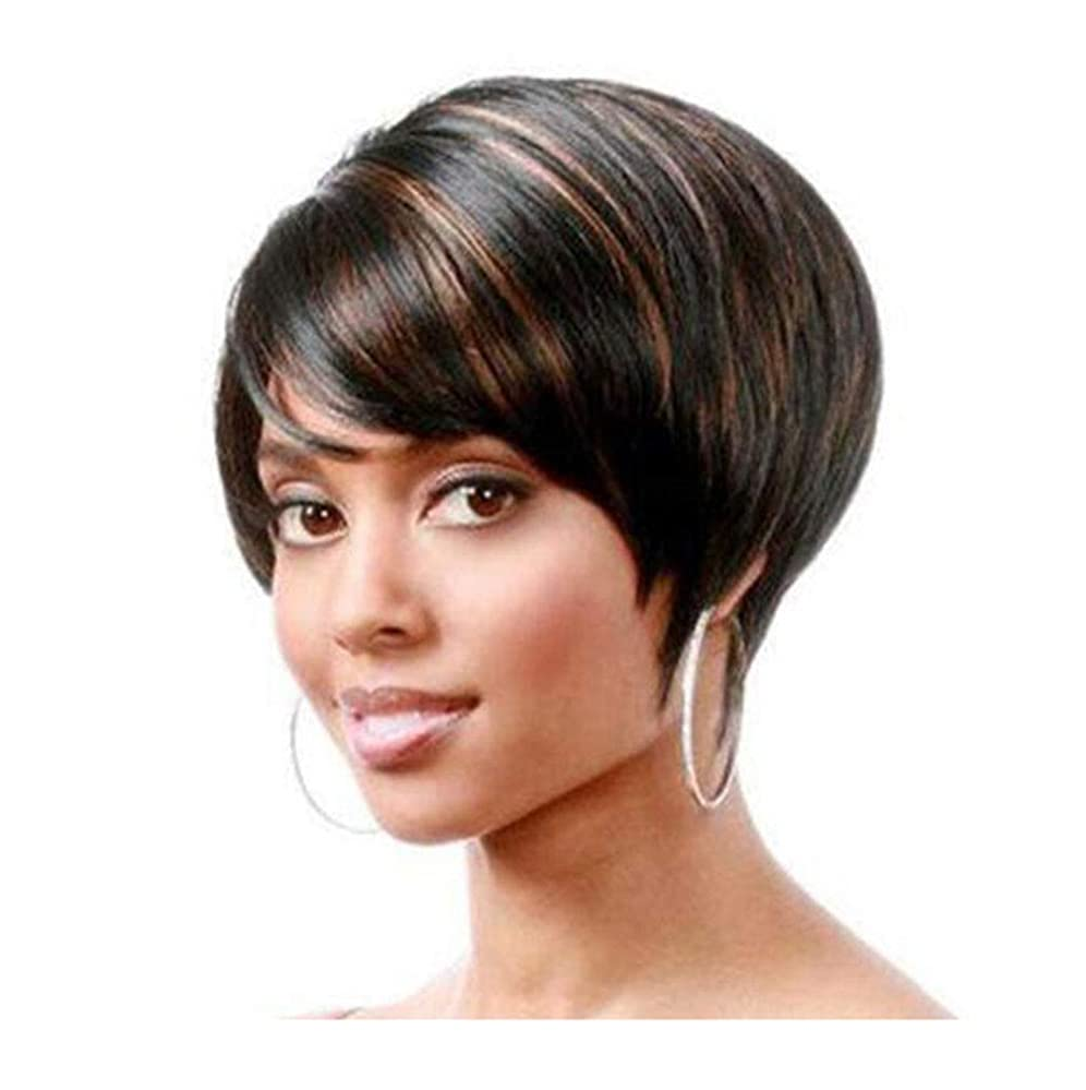 下手刃調停者女性かつらショートストレートブラウンヘアピース本物の人間の髪の毛の耐熱性女性Cospalyパーティー日常使用