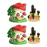 STOBOK 4 Piezas de Decoración de Acuario Resina Cactus Casa Modelo De Seta Ornamento Pecera Micro Paisaje Decoración para Acuario Pecera