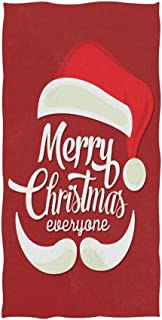 Naanle Merry Christmas Santa Claus Hat On Red Soft Bath Towel Absorbent Hand Towels Multipurpose for Bathroom Hotel Gym and Spa 30
