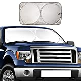 EcoNour Windshield Sun Shade - Blocks UV Rays Sun Visor Protector Sunshade to Keep Your Vehicle Cool and Damage Free   Easy to Use Car Accessories   Fits Most Windshields (Large 69' x 35')