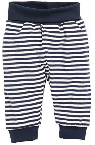 Schnizler Unisex Baby Jogginghose Babyhose Maritim mit Umschlagbund, Blau (Marine/Weiß 171), 56