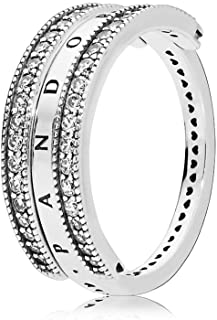 Flipping Hearts Logo Reversible Ring, Silver with Clear CZ, 197404CZ