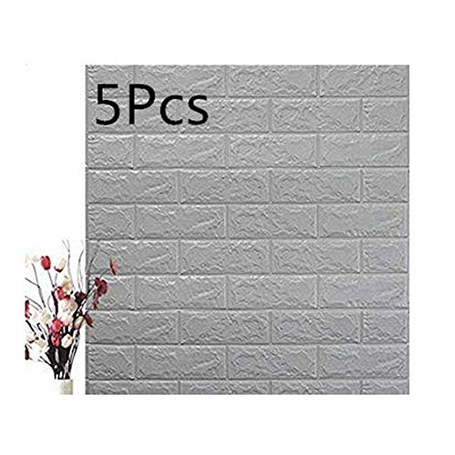 5-Pack de decoración de la pared de ladrillo Fondo de pantalla 3D PE extraíble Falsa piedra ladrillo decorativo espuma auto adhesivo fondo de pantalla extraíble, 27.5''30.30.27' '/ pcs,Gris