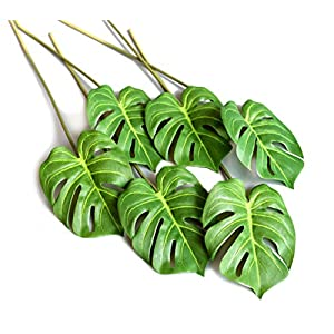 Silk Flower Arrangements 6 Pcs Artificial Tropical Monstera Palm Tree Leaves for Home Decorations 24.5 inch Stem