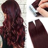 Silk-co Extensiones de Pelo Natural Adhesiva Cabello Humano (20PCS*1.5g) Tape in Hair Extensions 100% Remy Hair 30g-45cm 99J# Vino Rojo