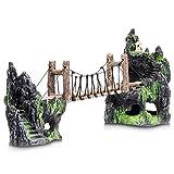 Aquatic Planet Decoración de puente de cuerda para acuario, diseño de montañas, tamaño XL (50 cm x 12 cm x 21 cm)
