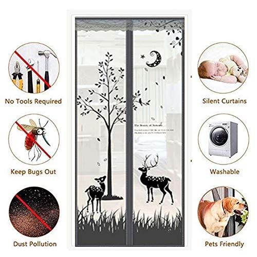 Magnétique Maille Porte Rideau De Protection Mouche Insecte Moustique protec écran UK Noir