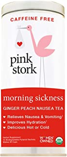 Pink Stork Morning Sickness Tea: Ginger-Peach, -USDA Organic Loose Leaf Herbs in Biodegradable Sachets, -Morning Sickness, Nausea, Cramps, Indigestion Relief -30 cups, -Caffeine-Free