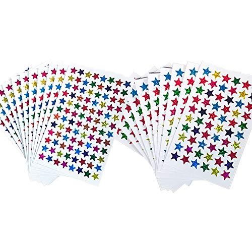 Pack of 1560pcs 1cm&1.3cm Self Adhesive Assorted Colors Laser Shiny Sparkle Star Stickers Kids Students Rewards Teachers Supplies(1cm&1.3cm)