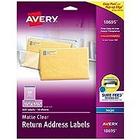 """Avery マット クリア リターン アドレスラベル Sure Feed Technology、インクジェット 2/3インチ x 1-3/4インチ、600ラベル 5パック (18695) 2/3"""" x 1-3/4"""""""