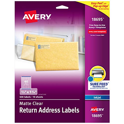 "Avery Matte Frosted Clear Return Address Labels for Inkjet Printers, 2/3"" x 1-3/4"", 600 Labels (18695)"
