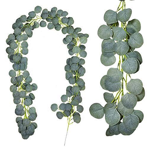 Kalolary 6,5 Fuß künstliche Eukalyptusgirlande, Künstliche Eukalyptusblätter, Handgemachte Weinreben Girlande Grün für Hochzeitsfeier Tisch Hintergrund Wand Innen Dekor, Künstliche Hängende Pflanzen