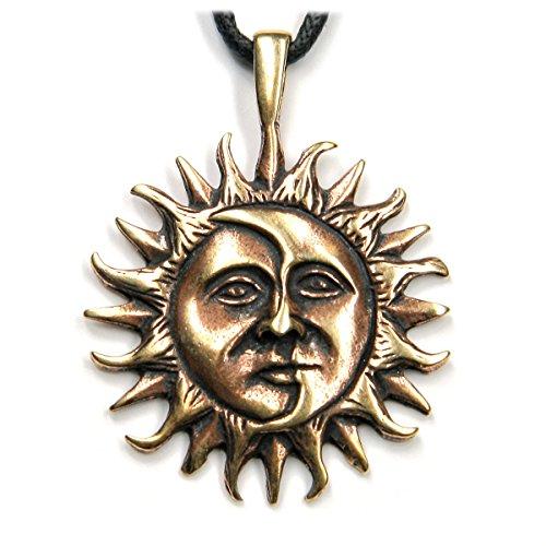 Drachensilber Sonne Mond keltischer Schmuck Anhänger Bronze, Länge mit Öse: 4cm, inkl. Band