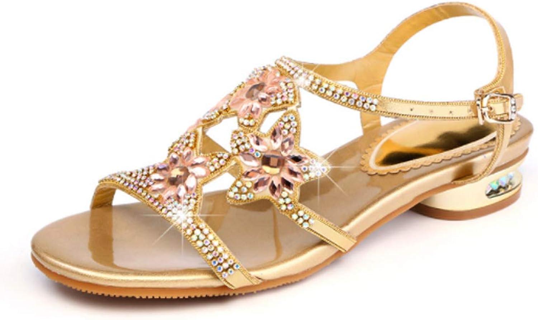 Selling Damen Diamant Sandalen, Glitter Sommer Sandalen, Sandalen mit mit mit hohem Absatz, böhmische komfortable Rutschfeste Flache Schnalle Joker,35  6c02c0