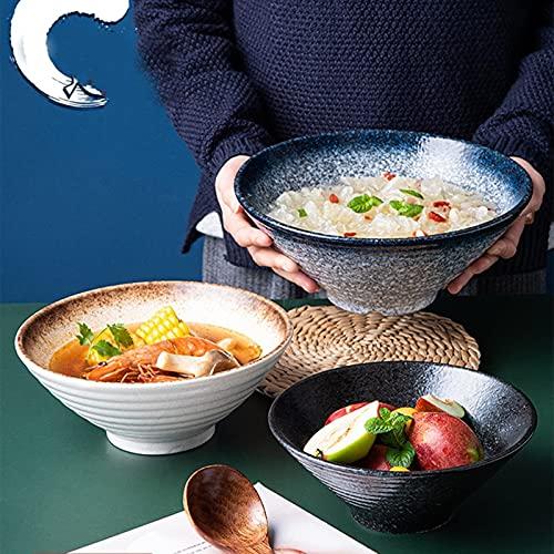 jwj Cuenco de cerámica con cuenco de ramen, juego de vajilla de ensalada mixta, fideos para el hogar, tazón de sopa, tazón de sopa, cuencos grandes para pasta creativa (color verde)
