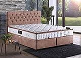 Cama con somier Rom Chester con canapé, tela, cama doble de hotel, superficie de descanso, 160 x 200 cm, color rosa