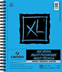 """Heavier weight and courser surfaced mix media paper Allows for more generous use of wet media Courser surface easily grabs hold of dry media Side wire pads a micro-perforated for true-sized sheets 50 Sheets of 90 lb/185 gsm paper, 9""""x12"""""""