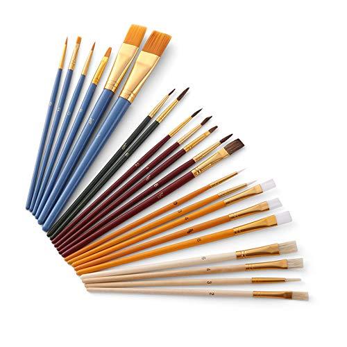Fesjoy Juego de Pintura al óleo, 25Pcs Kit de brochas de Pintura El Kit de Inicio de PaintBrushes Incluye Taklon/Bristle/Horse Hair Brushes y esponjas para acrílico al óleo Acuarela Gouaches