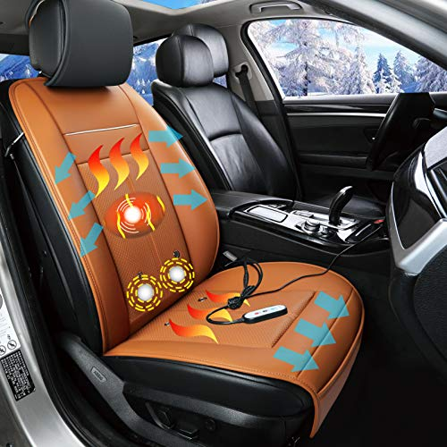 Fochutech Car Seat Warmer, 12V Heated Seat Cushion, Heated Car Seat Covers, Universal Car Seat Heater Heating Pads, 3 in 1 Cooling and Heating Pad Massager for Car Home Office (Orange)