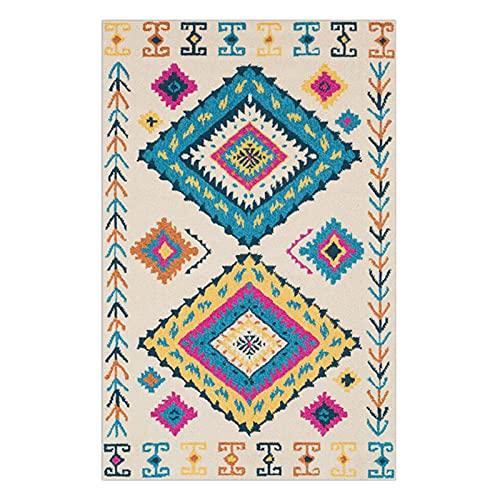 HEPAI Estilo étnico Bohemio Alfombra Tribal De Color Vintage Salón Dormitorio Balcón Alfombra Alfombras A Medida (Beige,120x160cm)
