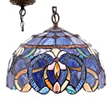 Tiffany Hanging Light W12H32 Inch Blue Purple Cloudy Stained Glass Pendant lamp 1E26 S558 WERFACTORY Series Lamps Chandelier Ceiling Fixture Kitchen Island Bar Hallway Living Room Dining Room Loft