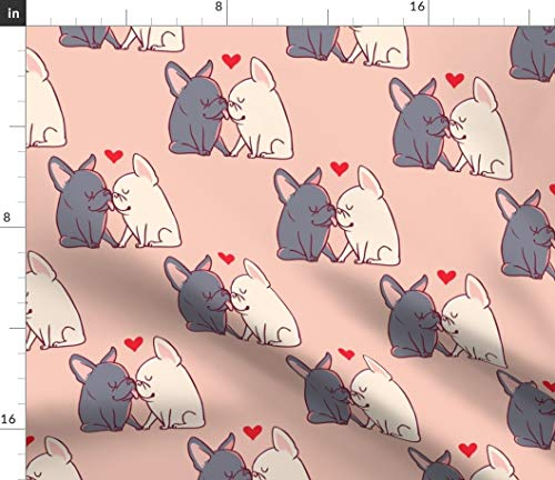 Spoonflower Fabric - French Bulldog Dogs Pet Animal Kisses Pink Printed on Organic Cotton Knit Fabric by The Yard - Baby Blankets Clothing Apparel T-Shirts
